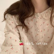Pajamas / housewear set female Other / other Average size Apricot with milk cake cotton Long sleeves longuette