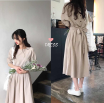 Dress Summer of 2019 Milk tea color Average size longuette singleton  Short sleeve Solid color
