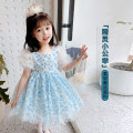 Dress female Neon workshop Other 100% summer Korean version Short sleeve Broken flowers other Fluffy skirt B110 other 12 months, 18 months, 2 years old, 3 years old, 4 years old, 5 years old, 6 years old Chinese Mainland Zhejiang Province