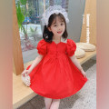 Dress Red dress female Neon workshop The recommended height is about 80cm for size 80, 90cm for Size 90, 100cm for size 100, 110cm for Size 110, 120cm for Size 120, 130cm for Size 130 and 140cm for size 140 Cotton 100% summer Korean version Short sleeve other other Princess Dress B52 other
