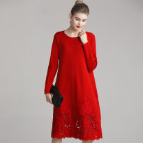Dress Winter of 2019 Black, red, dark green L,XL,2XL,3XL,4XL Middle-skirt singleton  Long sleeves commute Crew neck Loose waist Big flower Socket A-line skirt routine Others 40-49 years old Type A Anna Teng / Anna Teng Retro Hollow out, embroidery ATPM9919A More than 95% knitting wool