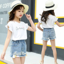 suit Siyu Beibei paradise 110cm,120cm,130cm,140cm,150cm,160cm female summer Korean version Short sleeve + pants 2 pieces routine There are models in the real shooting Socket nothing letter cotton children birthday Class B Cotton 95% PVC 5% 14, 5, 9, 12, 7, 8, 6, 13, 11, 4, 10 Chinese Mainland