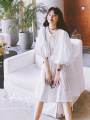 Dress Summer 2021 white S,M,L Mid length dress singleton  Short sleeve commute Crew neck Loose waist Solid color Socket Big swing puff sleeve Others Type A lecea alice Korean version Fold, lace up Q14012 More than 95% other other