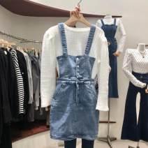 Dress Spring 2021 Blue denim strap skirt, black denim strap skirt S,M,L singleton