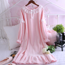 Nightdress Other / other Shrimp powder [flash in stock! 】, pure white [flash in stock! 】 M [suitable for 110 kg], l [suitable for 130 kg] Sweet Long sleeves pajamas longuette winter Solid color youth Crew neck Polyester (polyester) lace More than 95% Mink hair 300g