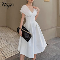 Dress Summer 2020 white S M L XL XS Mid length dress singleton  commute V-neck High waist Solid color Big swing 25-29 years old Hego Retro BH6761 71% (inclusive) - 80% (inclusive) cotton Cotton 77% polyamide fiber (nylon) 22% polyurethane elastic fiber (spandex) 1% Exclusive payment of tmall