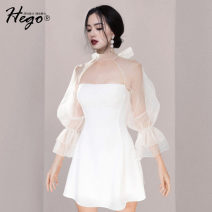 Dress Spring 2021 white XS S M L Short skirt singleton  commute High waist Solid color A-line skirt 25-29 years old Hego Retro BH7039-1 More than 95% polyester fiber Polyester 100%