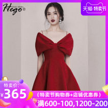 Dress Spring 2021 gules XS S M L XL Short skirt singleton  commute High waist Solid color A-line skirt camisole 25-29 years old Hego Retro More than 95% polyester fiber Polyester 96% polyurethane elastic fiber (spandex) 4% Pure e-commerce (online only)