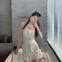Fashion suit Summer 2021 S, M Off white top, black top, off white skirt, black skirt 18-25 years old 661-663 96% and above cotton