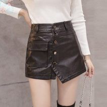 skirt Autumn 2020 S,M,L,XL,2XL black Short skirt Versatile High waist skirt Solid color Type A 25-29 years old 51% (inclusive) - 70% (inclusive) other Other / other PU 401g / m ^ 2 (inclusive) - 500g / m ^ 2 (inclusive)