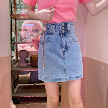 skirt Spring 2021 S,M,L,XL blue Short skirt commute High waist skirt Solid color Type A 18-24 years old 30% and below Denim Other / other cotton Korean version