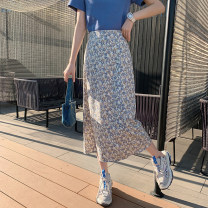 skirt Spring 2021 S,M,L Apricot Mid length dress commute High waist A-line skirt Broken flowers Type A 18-24 years old 30% and below other Other / other other lady