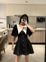 Dress Spring 2021 Black, white S,M,L,XL Short skirt singleton  Short sleeve commute V-neck High waist Solid color Socket A-line skirt routine 18-24 years old Type A Other / other Korean version 30% and below other