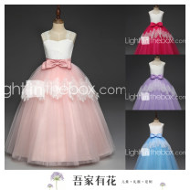 Children's dress Pink, rose, sky blue, purple, sapphire female 100cm,105cm,110cm,115cm,120cm,125cm,130cm,135cm,140cm,145cm,150cm,155cm,160cm Other / other full dress 2, 3, 4, 5, 6, 7, 8, 9, 10, 11, 12, 13, 14 years old