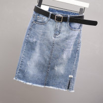 skirt Summer 2021 S,M,L,XL,2XL,3XL wathet Middle-skirt Versatile Natural waist Denim skirt Solid color Type H 25-29 years old 51% (inclusive) - 70% (inclusive) Denim Other / other cotton Rough edge