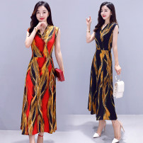 Middle aged and old women's wear Summer 2020 Red, black, red stripe, black stripe, red stripe, gray stripe XL (within 115 kg recommended), 2XL (115-130 kg recommended), 3XL (130-150 kg recommended), 4XL (150-170 kg recommended) fashion Dress Self cultivation singleton  Decor 40-49 years old Socket
