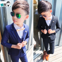 Suit / Blazer Navy, black grey, Navy three piece set + white shirt, black grey three piece set + white shirt 100cm,110cm,120cm,130cm,140cm,150cm Other / other male There are models in the real shooting Korean version spring and autumn stripe A button routine cotton other