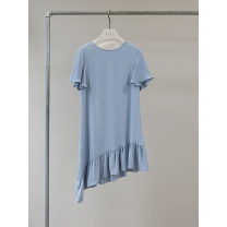 Dress Spring 2021 Mystery blue S,M,L longuette singleton  Short sleeve commute Crew neck Loose waist Solid color Socket Ruffle Skirt routine Others 25-29 years old Type H Other / other Simplicity Lotus leaf edge AQ18709 More than 95% other silk