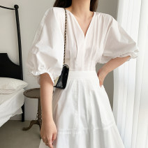 Dress Summer 2021 white S,M,L,XL Mid length dress singleton  Short sleeve commute V-neck High waist Solid color Socket Big swing puff sleeve Type A Korean version 20-75 51% (inclusive) - 70% (inclusive) brocade cotton