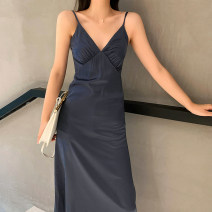 Dress Summer 2020 Ink blue S,M,L longuette singleton  Sleeveless commute V-neck High waist Solid color Socket A-line skirt routine camisole Type A Korean version 19-064 More than 95% Silk and satin Cellulose acetate