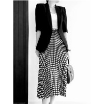 skirt Spring 2021 2,4,6,0,8 Black and white check commute Natural waist A-line skirt Solid color CHUY-203487 More than 95% LOVELY HEIDI other Simplicity
