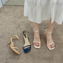 Sandals 35,36,37,38,39 Off white, black, orange, light off white, atmospheric black, bright orange PU Jamie of Min Barefoot Fine heel High heel (5-8cm) Summer 2021 Flat buckle Korean version Solid color Adhesive shoes Youth (18-40 years old) rubber daily Ankle strap waterproof Low Gang Hollow PU PU