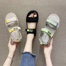Sandals 35,36,37,38,39,40 Black, off white, green cloth Jamie of Min Barefoot Flat bottom Low heel (1-3cm) Summer 2021 Velcro Korean version Solid color Adhesive shoes Youth (18-40 years old) rubber daily Ankle strap waterproof Low Gang Lateral space PU PU Flat buckle Frosting