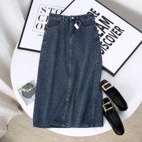 skirt Spring 2021 S,M,L,XL blue Mid length dress Versatile High waist A-line skirt Type A 51% (inclusive) - 70% (inclusive) other