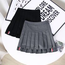 skirt Summer 2021 S,M,L,XL Black, gray Short skirt commute High waist Pleated skirt Solid color Type A 18-24 years old 51% (inclusive) - 70% (inclusive) Korean version