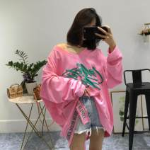 T-shirt Pink, white Average size Spring of 2019 Long sleeves V-neck easy Medium length Bat sleeve commute cotton 86% (inclusive) -95% (inclusive) 25-29 years old Korean version originality letter