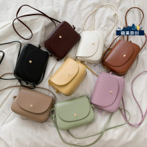 Bag Inclined shoulder bag PU Small square bag Mesroti black brand new Japan and South Korea Small leisure time soft Magnetic buckle no Solid color Single root One shoulder portable messenger nothing youth other Soft handle synthetic leather XM-247 soft surface