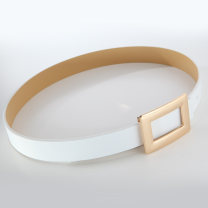 Belt / belt / chain top layer leather White, black, pink female belt Simplicity Single loop Youth, middle age Smooth button Geometric pattern soft surface 2.7cm alloy FDE353 90cm,95cm,100cm