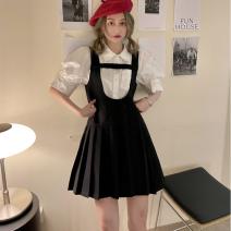 Fashion suit Summer 2021 Average size White shirt, suspender skirt