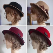 Hat wool blend  Adjustable Autumn and winter bow Flat eaves -AyI- MD011
