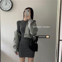 Fashion suit Autumn 2020 Average size Dark grey dress, light grey zipper coat 18-25 years old 30% and below