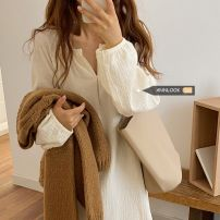 Dress Autumn 2020 Apricot, pink Average size singleton  Long sleeves commute V-neck Loose waist Solid color other other bishop sleeve 18-24 years old Frenulum 71% (inclusive) - 80% (inclusive) other cotton