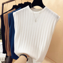 Wool knitwear Summer 2021 Average size White, black, blue, dark brown Sleeveless singleton  Socket other 31% (inclusive) - 50% (inclusive) Regular routine commute Self cultivation Low crew neck routine Solid color Socket Korean version