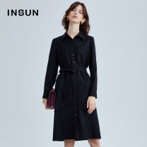 Dress Autumn 2020 Tibetan blue 36/S 38/M 40/L 42/XL 44/XXL Middle-skirt singleton  Long sleeves commute Polo collar middle-waisted stripe Single breasted A-line skirt routine Others 30-34 years old Type A Insun / Enshang Ol style Button 9C60305200 More than 95% wool Wool 95.6% viscose 4.4%