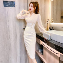 Dress Autumn 2020 Apricot, black S,M,L Mid length dress singleton  Long sleeves commute V-neck High waist Others 18-24 years old Korean version A10.17-11
