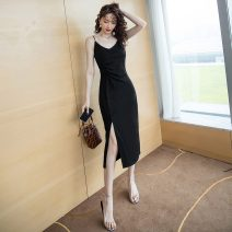 Dress Summer 2020 black S,M,L,XL Mid length dress singleton  commute V-neck High waist One pace skirt camisole 18-24 years old Type A lady