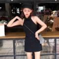Dress Summer 2020 White, black Average size Short skirt singleton  Sleeveless commute High waist Hanging neck style 18-24 years old Korean version D4.12.17