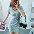 Dress Summer 2021 Black, gray Average size Short skirt singleton  Long sleeves commute Polo collar High waist Solid color Socket One pace skirt puff sleeve Others 30-34 years old Type H fold 81% (inclusive) - 90% (inclusive) brocade cotton