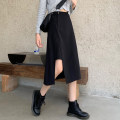 skirt Autumn 2020 S,M,L black Mid length dress commute High waist Irregular Solid color Type A 18-24 years old 30% and below other other Korean version