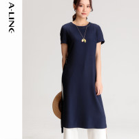 Dress Summer 2020 Navy Blue M L XL Mid length dress commute 30-34 years old Aline / Alai literature B0L2022 More than 95% polyester fiber Polyester 96.3% polyurethane elastic fiber (spandex) 3.7% Same model in shopping mall (sold online and offline)