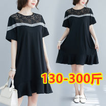 Women's large Summer 2020 Black (collect baby first) 2XL (120-160 kg recommended), 3XL (170-210 kg recommended), 4XL (220-260 kg recommended), 5XL (270-300 kg recommended) Dress commute easy Solid color 18-24 years old Lace stitching 51% (inclusive) - 70% (inclusive)