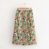 skirt Spring 2020 S,M,L Decor Mid length dress Retro Natural waist other other 25-29 years old 52-17710 31% (inclusive) - 50% (inclusive) Crepe de Chine FMP Cellulose acetate Embroidery
