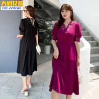 Dress Summer 2020 Black, rose purple XL,2XL,3XL,4XL longuette singleton  Short sleeve commute V-neck High waist Solid color Socket other Others 25-29 years old Type A Other / other Korean version 31% (inclusive) - 50% (inclusive)