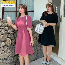 Dress Summer 2020 Black, bean paste purple XL,2XL,3XL,4XL Mid length dress singleton  Short sleeve Sweet Crew neck Solid color Big swing routine Others 25-29 years old Type X Other / other princess