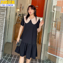 Dress Summer 2021 Black dress XL,2XL,3XL,4XL longuette singleton  Short sleeve commute Doll Collar High waist Solid color Socket A-line skirt pagoda sleeve 25-29 years old Type A Other / other Button 31% (inclusive) - 50% (inclusive) other