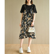 Dress Summer 2021 Black stitching L,XL,2XL,3XL,4XL Mid length dress singleton  Short sleeve commute Crew neck Loose waist other Socket Ruffle Skirt routine Others Type A Natural products literature More than 95% Chiffon polyester fiber